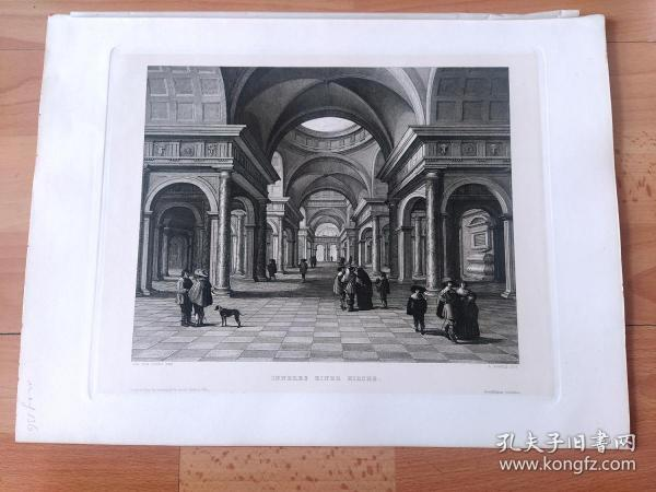 1889年铜版蚀刻版画《文艺复兴时期最杰出的建筑艺术:梵蒂冈圣彼得大教堂》(INNERES EINER KIRCHE)-- 出自荷兰黄金时代著名建筑景观画家,让·凡·武赫特(Jan van Vucht,1603–1637)作于1632年的油画 -- 圣彼得大教堂是位于梵蒂冈的一座天主教宗教圣殿,始建于1506年,为天主教会重要的象征之一 -- 维也纳艺术画廊出版 -- 版画纸张39*29厘米