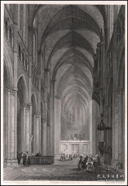 1837年钢版画《沙特尔大教堂-自中殿向东视图》,27.3*21.4cm