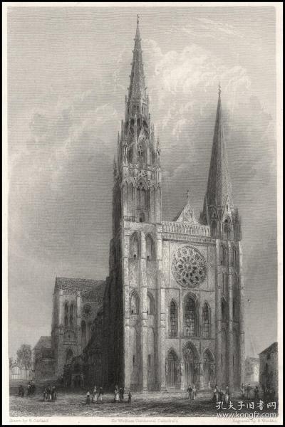 1837年钢版画《沙特尔大教堂-西前方立面》,27.3*21.4cm