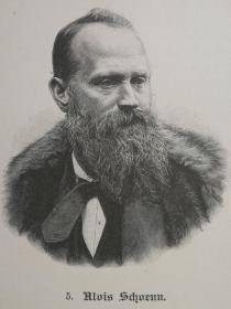1890年木版画,艺术家肖像《奥地利画家,阿洛伊斯·舍恩(AloisSchönn1826-1897)》尺寸22.7*30.7厘米,背面有字--在主要美术馆和博物馆的多次展览中,他们的作品都得到了展出,其中包括Neue Galerie Graz,环球博物馆Joanneum