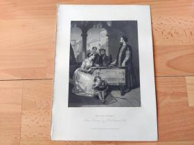1840年钢版画《佛斯卡里父子》(THE TWO FOSCARI)-- 出自19世纪英国画家,约翰·罗杰斯·赫伯特(John Rogers Herbert,1810-1890)油画 -- 取材于英国著名诗人拜伦的历史剧《佛斯卡里父子》,描绘威尼斯总督弗兰西斯科·佛斯卡里唯一还活着的儿子,却因为他们家族敌人的不公正指控,被十人会议逐出威尼斯 --《英国艺术画廊》出版 -- 版画纸张28*20厘米