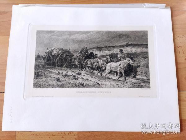1889年铜版蚀刻版画《运干草的马车》(WALLACHISCHE FUHRWERK)-- 出自19世纪德国动物马匹与风景画家,杜塞尔多夫美术学院教授,阿道夫·施赖尔(Adolf Schreyer,1828–1899)的油画作品 -- 雕刻师:FR.KROSTEWITZ -- 维也纳艺术画廊出版发行 -- 版画纸张39*29厘米