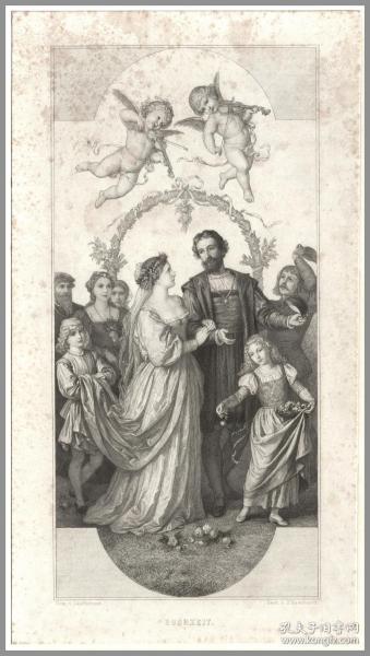 【递藏本·罕见晚期铜版画】1860年铜版画《婚礼》,49.5*38cm