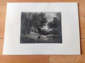 1840年钢版画《密林中的饮水处》(THE WATERING PLACE)-- 出自18世纪著名英国肖像和风景画家,托马斯·庚斯博罗(Thomas Gainsborough,1727-1788)作于1771年的油画,藏于英国伦敦国家美术馆 -- 《英国艺术画廊》出版 -- 版画纸张28*20厘米