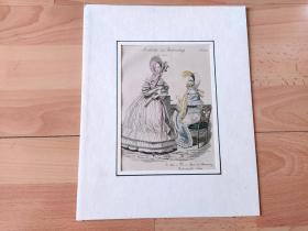 1838年手工上色铜版画《时尚巴黎:歌剧院内的靓影》(Modelilcher zur Theaterzeitung)-- 卡纸画框30*24厘米,版画纸张23*15厘米