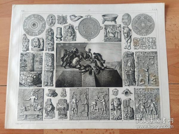 1848年钢版画《宗教历史与宗教崇拜图版14:太阳神崇拜(人类最早的神话崇拜),与活人祭祀》(The origin of Christianity)-- 19世纪西方宗教研究领域自然神话学派的代表人物麦克斯·缪勒(Max Muller)提出,人类所塑造出的最早的神是太阳神,最早的崇拜形式是太阳崇拜。世界上的太阳崇拜有五大发源地:中国、印度、埃及、希腊和南美的印加文化 -- 版画纸张30*24厘米