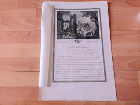1786年铜版画《湖畔古堡下的牧场》(LES CHEVRES)-- 出自16世纪佛兰德风景画家和版画家,保罗·布里耳(Paul Bril,1554–1626)的油画作品 -- 法国卢浮宫皇家画廊出版 -- 版画纸张48*33厘米