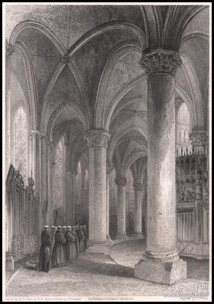 1837年钢版画《沙特尔大教堂-从北通道看唱诗席背面》,27.3*21.4cm