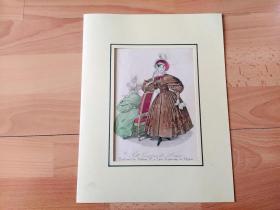 1840年手工上色钢版画《时尚巴黎:高贵典雅的时尚丽人》(Modes des Paris - Petit Courrier des Dames)-- 卡纸画框30*23厘米,版画纸张22*15厘米