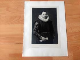 1889年铜版蚀刻版画《着「拉夫领」的黑衣男子肖像》(MANNLICHES BILDNISS)-- 出自著名弗兰德斯画家,巴洛克画派早期代表人物,保罗·鲁本斯(Paul Rubens)的油画作品 -- 雕刻师:W.HECHT -- 画中男子着拉夫领(Ruff),也称轮状皱领,在文艺复兴时期被欧洲男女普遍采用 -- 维也纳艺术画廊出版发行 -- 版画纸张39*29厘米