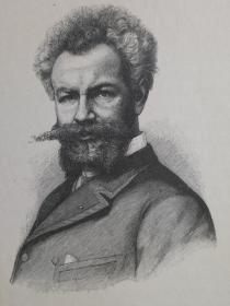 1890年木版画,艺术家肖像《匈牙利画家,米哈利·蒙卡奇Mihály Munkácsy1844-1900》尺寸22.7*30.7厘米,背面有字--是匈牙利画家。他的流派图片和大型圣经画作赢得了国际声誉