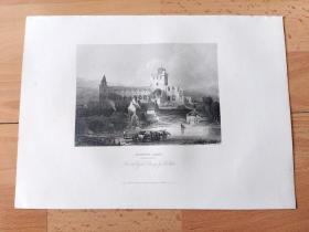 1840年钢版画《中世纪建筑瑰宝:历经战火洗礼的杰德堡修道院,苏格兰》(JEDBURG ABBEY,ROXBURGSHIRE)-- 出自19世纪著名苏格兰画家,大卫·罗伯茨(David Roberts)的油画 -- 杰德堡修道院是建于公元1138年的中世纪奥斯定会修道院,距苏格兰与英格兰边境仅10英里,多次在和英格兰的战争中被破坏 --《英国艺术画廊》出版 -- 版画纸张28*20厘米