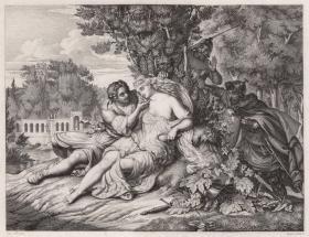 1833年铜版画《里纳尔多和阿米达》,42.7*31.8cm