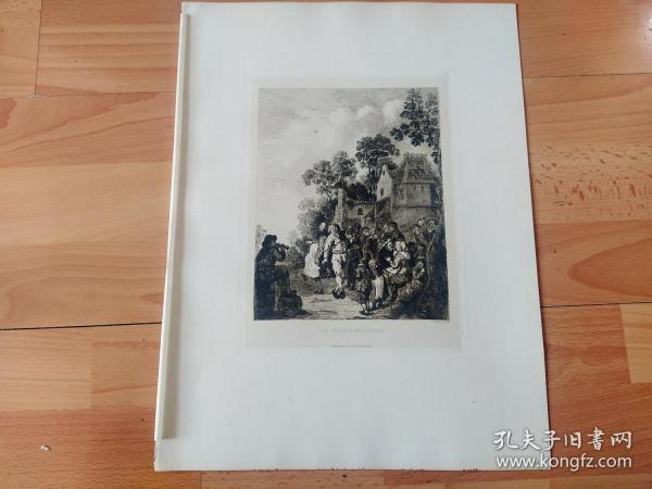 1889年铜版蚀刻版画《音乐与舞蹈》(Music and Dance)-- 出自17世纪荷兰黄金时代著名风俗画家,巴洛克艺术大师,让·米恩斯·莫勒奈尔(Jan Miense Molenaer,1610–1668)的油画作品 -- 雕刻师:A.Kaiser --  维也纳艺术画廊出版 -- 版画纸张39*29厘米