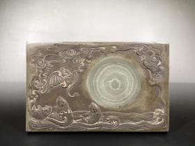 旧藏富贵双全绿端砚,重约2160g,尺寸22.7×14.4×2.5cm