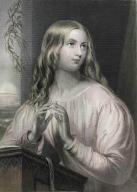 《神圣的眼睛》—出自爱尔兰诗圣托马斯·穆尔的诗歌 19世纪手工上色钢版画 雕刻师Rice & Buttre 24.1*16.4厘米