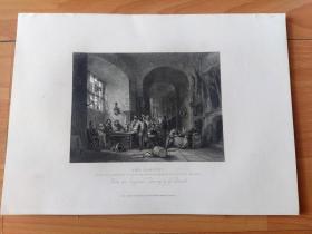 1840年钢版画《苏格兰弓箭手协会夜宴》(THE BANQUET)-- 出自19世纪英国画家和插图画家,乔治·卡特莫尔(George Cattermole,1800-1868)油画 -- 《英国艺术画廊》出版 -- 版画纸张28*20厘米
