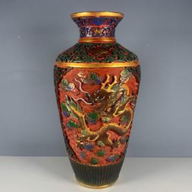 清代古董收藏漆器手工雕刻花瓶摆件全品老货杂项传世老货