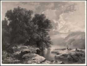 【手绘落石】1846年半色调石版画《湖畔》,57*39.5cm