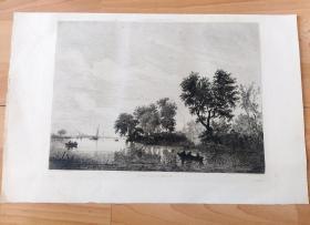 19世纪铜版蚀刻《默兹河上的渡船》(BORDS DE LA MEUSE)-- 出自17世纪荷兰黄金时代著名风景画家,萨洛蒙·凡·雷斯达尔(Salomon van Ruysdael,约1602-1670)作于1652年的油画,原画藏于丹麦国立美术馆 -- 雕刻师:19世纪法国画家、雕刻家,Léon Gaucherel(1816-1886) -- 版画纸张43*28厘米