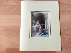 1824年飞尘美柔汀铜版画《父母的虔诚祈祷》(Parents pray for their children)-- 雕刻师:D.K.Bonatti Ferrario -- 出自葡萄牙出版商G. Ferrarios出版发行《古代历史与现代艺术》一书 -- 手工上色 -- 卡纸画框30*23厘米,版画纸张23*15厘米