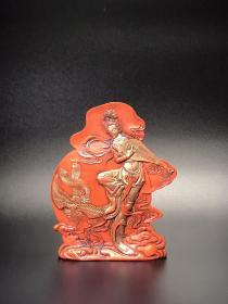 朱砂墨丹凤朝阳墨锭,重约380g左右,尺寸13×10.4×2.3cm