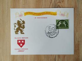 外国早期邮品保真【荷兰1943年双马邮票打孔徽志狮子图卡极限片 非常少见】集2105-19