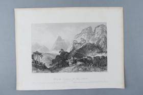 著名版画家、建筑大师 托马斯·阿罗姆《Foot of the Too-hing, orTwoPeaks, Le Nai(双峰山下)》铜版画一幅(收录于《大清帝国城市印象:十九世纪英国铜版画》) HXTX383202