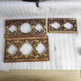 民国楠木漆金雕花 三对 2152860