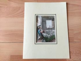 1824年飞尘美柔汀铜版画《天使回归天堂》(Angels return to heaven)-- 雕刻师:D.K.Bonatti Ferrario -- 出自葡萄牙出版商G. Ferrarios出版发行《古代历史与现代艺术》一书 -- 手工上色 -- 卡纸画框30*23厘米,版画纸张22.5*14厘米