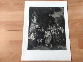 1897年铜版蚀刻版画《圣约翰内波穆克雕像前的崇拜》(Johannes Andacht)-- 出自著名奥地利浪漫主义画家, 费迪南德·乔治·瓦尔特米勒爵士(Ferdinand Georg Waldmüller)作于1844年的油画 -- 雕刻师:Johannes Klaus -- 内波穆克的圣约翰(1345-1393),捷克历史上著名主教 -- 维也纳艺术画廊出版发行 -- 版画纸张39*29厘米