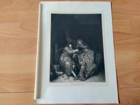 1897年铜版蚀刻版画《国际象棋比赛》(SCHACHSPIELER)-- 出自17世纪荷兰黄金时代著名画家,阿德里安·凡·德·韦夫(Adriaen van der Werff,1659-1722)的油画作品 -- 雕刻师:W.ROHR -- 维也纳艺术画廊出版发行 -- 版画纸张39*29厘米