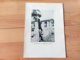 """1910年书页照片《畅游北京颐和园:昆明湖畔,与湖对岸的万寿山和佛香阁》(UN PETIT COIN DU CELEBRE PALAIS D'ETE) -- 万寿山为燕山余脉,前临昆明湖;佛香阁是一座塔式宗教建筑,建于乾隆年间,""""佛香""""来源于佛教对佛的歌颂,该阁仿杭州的六和塔建造,兴建在20米的石造台基上,为英法联军烧毁后慈禧重新建造 -- 出自《晚清见闻录》-- 版画纸张25*18厘米"""