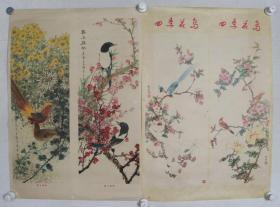 1979年 陕西人民美术出版社出版 陕西新华书店发行 康师尧作 宣传画《四季花鸟》2张一组(尺寸:76*52CM*2)HXTX383219