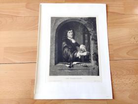 1897年铜版蚀刻版画《音乐家:小提琴手》(DER VIOLINSPIELER)-- 出自17世纪荷兰黄金时代著名肖像画家,皮尔特·科尼利兹·范斯林格兰(Pieter Cornelisz van Slingelandt,1640-1691)的油画作品 -- 雕刻师:L.KUHN -- 维也纳艺术画廊出版发行 -- 版画纸张39*29厘米