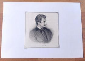 1897年铜版蚀刻《画家自画像:加布里埃尔·冯·马克斯》(Gabriel Max)-- 加布里埃尔·冯·马克斯(Gabriel von Max,1840-1915),19世纪著名捷克浪漫主义和象征主义画家 -- 奥地利维也纳艺术画廊出版 -- 后附卡纸30*21厘米,版画纸张14*13厘米