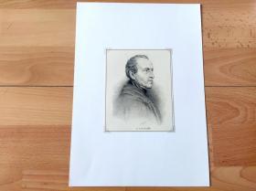 1893年铜版蚀刻《画家肖像:费迪南德·乔治·瓦尔特米勒爵士》(F.G.Waldmüller)-- 费迪南德·乔治·瓦尔特米勒爵士(Ferdinand Georg Waldmüller,1793–1865),19世纪著名奥地利浪漫主义画家 -- 奥地利维也纳艺术画廊出版 -- 后附卡纸30*21厘米,版画纸张14*11厘米