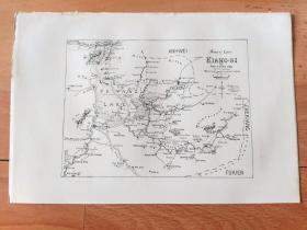 清代老地图《清代江西省东北部地图:即鄱阳湖周边及以东地区,含今南昌、九江、景德镇、鹰潭、上饶等城市》(NORTH-EAST KIANG-SI)-- 出自《中国历史名城》-- 地图纸张22*15厘米