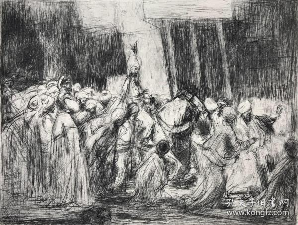 1891年原创印象派风格蚀刻铜版画《阿拉丁在去苏丹的路上》—荷兰画家和蚀刻师Marius Bauer(1867-1932年)蚀刻作品 39*29.6厘米