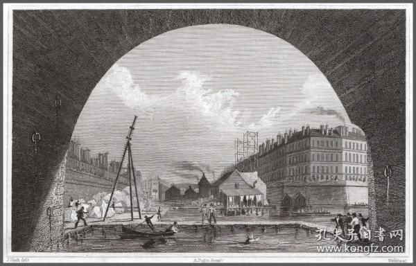 1830年钢版画《塞纳河风景》,20.5*14cm
