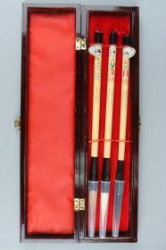 上世纪九十年代 长城牌(益华笔庄)木盒毛笔三支(长28.5cm)HXTX226218
