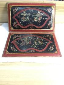 骑马古典战斗人物(双阳公主,穆柯寨)手绘漆画板2片-216187