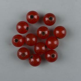 约清末 南红玛瑙精圆大孔洞珠子 十二粒(单珠直径约1.7cm)HXTX223878