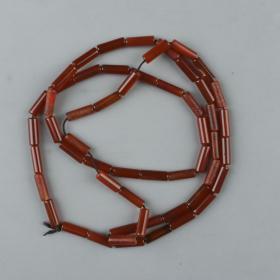 老玛瑙管形55粒长串 一件(每粒长约1.2cm,径0.3cm)HXTX223879