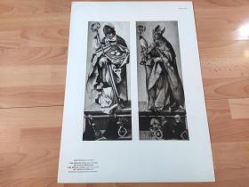 【图版30】1923年胶印版画《圣尼古拉斯(圣诞老人原型)与图卢兹的圣路德维希》(NIKOLAUS;LUDWIG)-- 出自文艺复兴德国画家,汉斯·巴尔东·格里恩(Hans Baldung Grien,1484–1545)作品 --  圣·尼古拉斯(270-346),土耳其历史上的一位主教,因慷慨而被人们爱戴 ,其生前事迹后来演变成圣诞老人传说-- 法兰克福施泰德美术馆出版,版画纸张58*42厘米