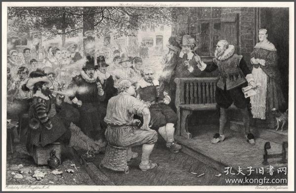 """1899年蚀刻版画《""""暴君威廉""""的反吸烟法》,31.9*24cm"""