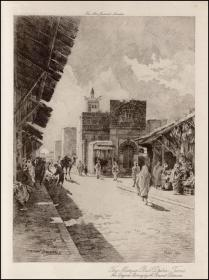 1903年原创蚀刻版画《突尼斯巴布·德齐拉真寺》,32.5*23cm