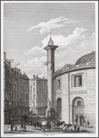 1830年钢版画《巴黎小麦交易所》,20.5*14cm