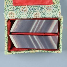 """青田夹板石雕""""天降双福""""对章料 带锦盒(高7.2cm*2*1.9cm) HXTX226223"""