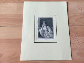 1836年钢版画《丽人画廊:后宫佳丽,埃斯特雷亚》(Estrella)-- 出自19世纪著名奥地利女性肖像画家,约翰·内波穆克·安德(Johann Nepomuk Ender,1793–1854)的油画作品 -- 雕刻师:Franz Xaver Stoder(1795-1858)-- 德国莱比锡丽人画廊出版 -- 卡纸画框30*23厘米,版画纸张20*12.5厘米
